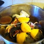 Fig jam ingredients in the pan