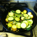 Leek and Courgettes browning