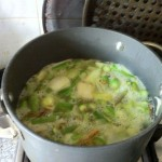 Simmer the leeks and asparagus